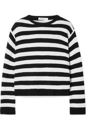 Wrap-effect bow-embellished striped cashmere sweater