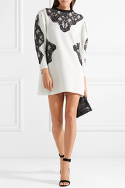Valentino Camelia lace-paneled ribbed wool mini dress