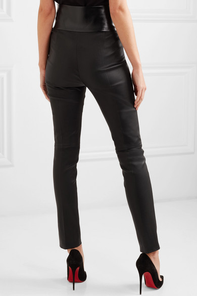 Bow-embellished Stretch-leather Skinny Pants - Black Valentino