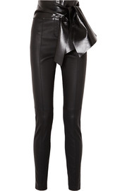 Valentino Bow-embellished stretch-leather skinny pants