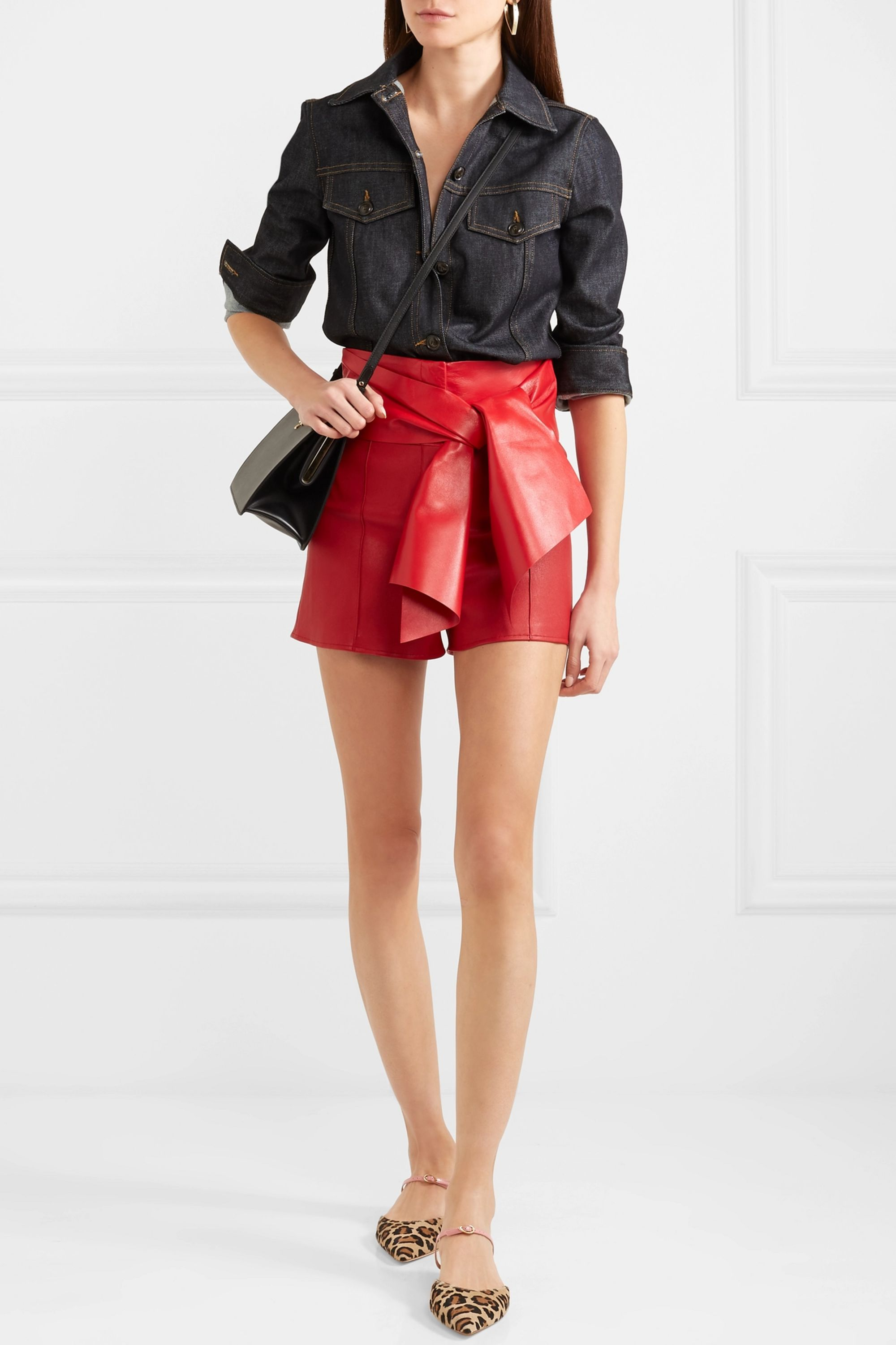 Valentino Bow-detailed leather shorts