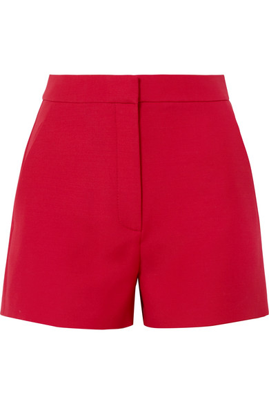 Wool And Silk-Blend Crepe Shorts, Red