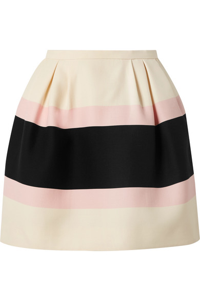 Striped Wool And Silk Blend Crepe Mini Skirt by Valentino