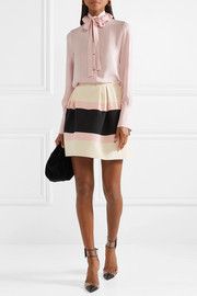 Valentino Striped wool and silk-blend crepe mini skirt