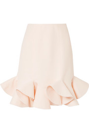 Ruffled wool and silk-blend skirt