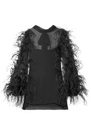 Valentino Feather-trimmed silk-chiffon top