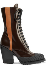 Chloé Rylee two-tone glossed-leather ankle boots