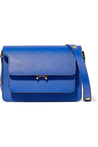 Marni - Trunk Medium Textured-leather Shoulder Bag - Cobalt blue