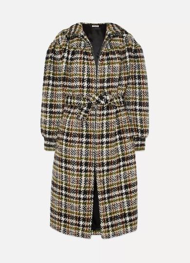 Miu Miu - Checked Wool-blend Bouclé Coat - Brown