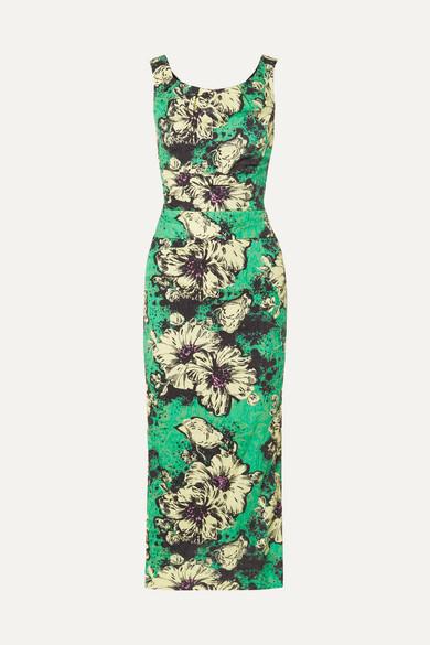 Ruched Floral-Print Silk-Blend Cloqué Midi Dress in Green from MIU MIU