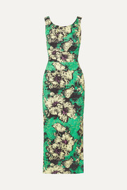 Miu Miu Ruched floral-print silk-blend cloqué midi dress