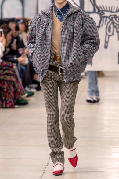 Miu Miu Pants Houndstooth wool-tweed straight-leg pants