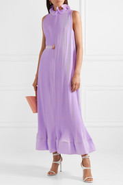 Tibi Ruffled plissé-satin midi dress