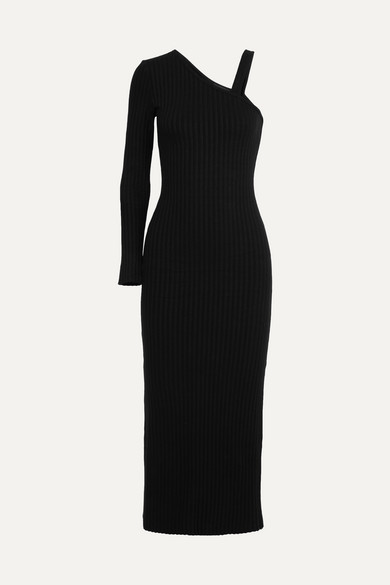 THE RANGE One-Shoulder Ribbed-Knit Midi Dress in Black