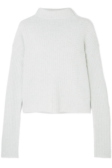 THE RANGE Ribbed-Knit Turtleneck Sweater in Gray