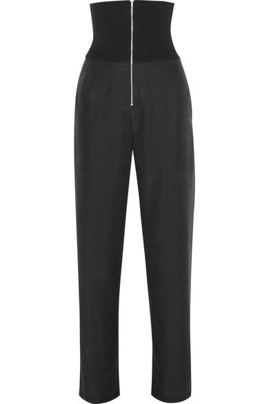 THE RANGE Liquid Ribbed Stretch-Jersey And Washed-Satin Straight-Leg Pants in Black