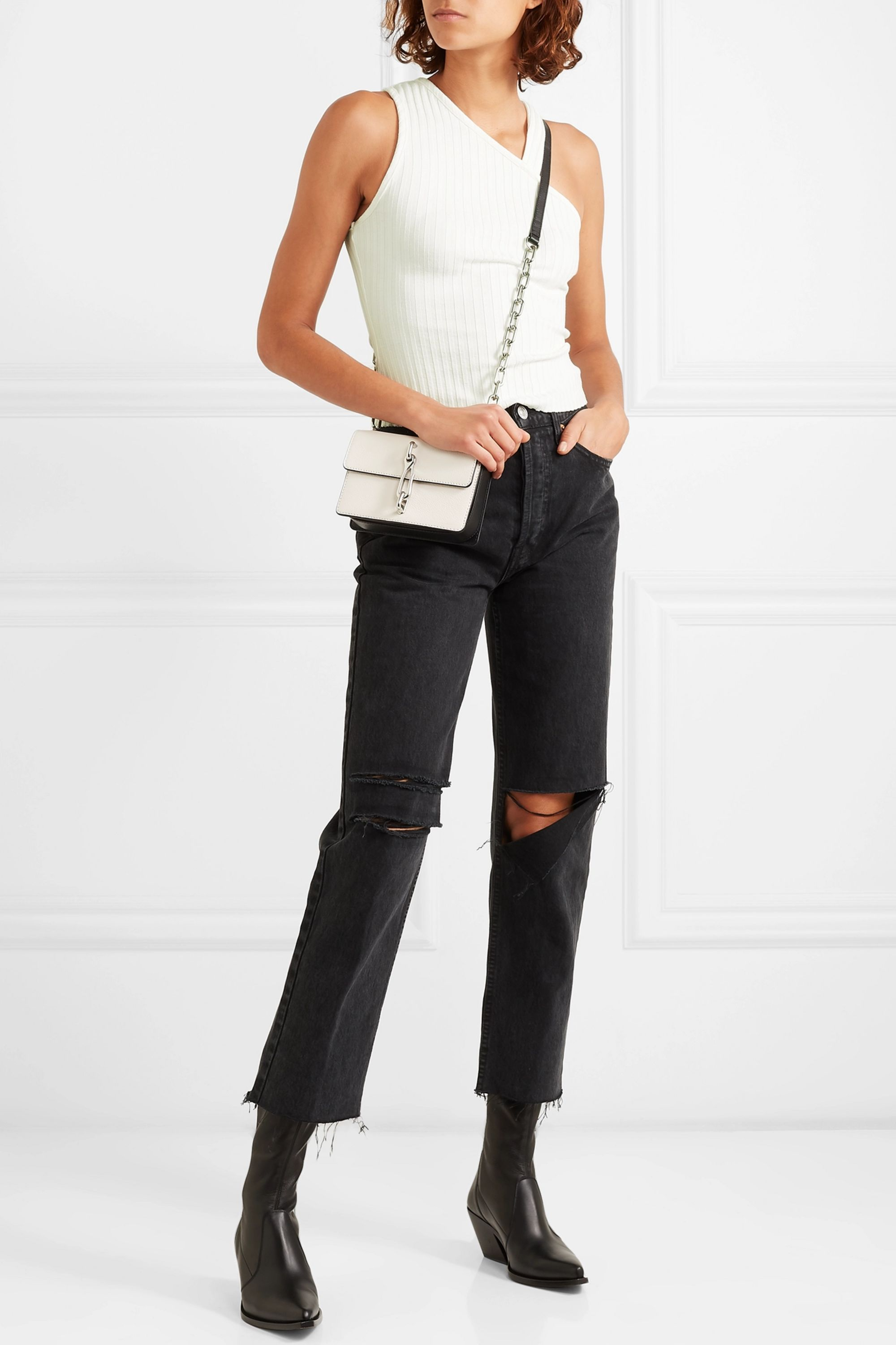 The Range One-shoulder ribbed stretch-jersey top