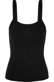 Backless ribbed cotton-jersey tank