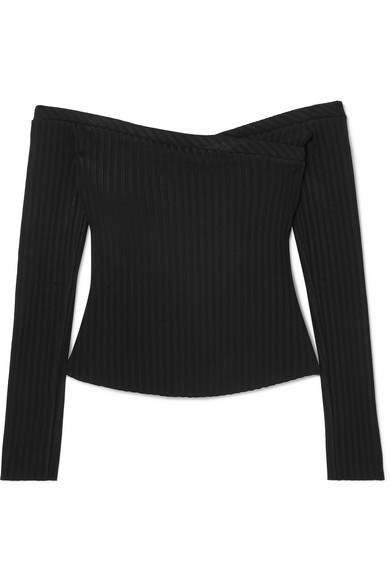 THE RANGE Off-The-Shoulder Ribbed Stretch-Jersey Top in Black