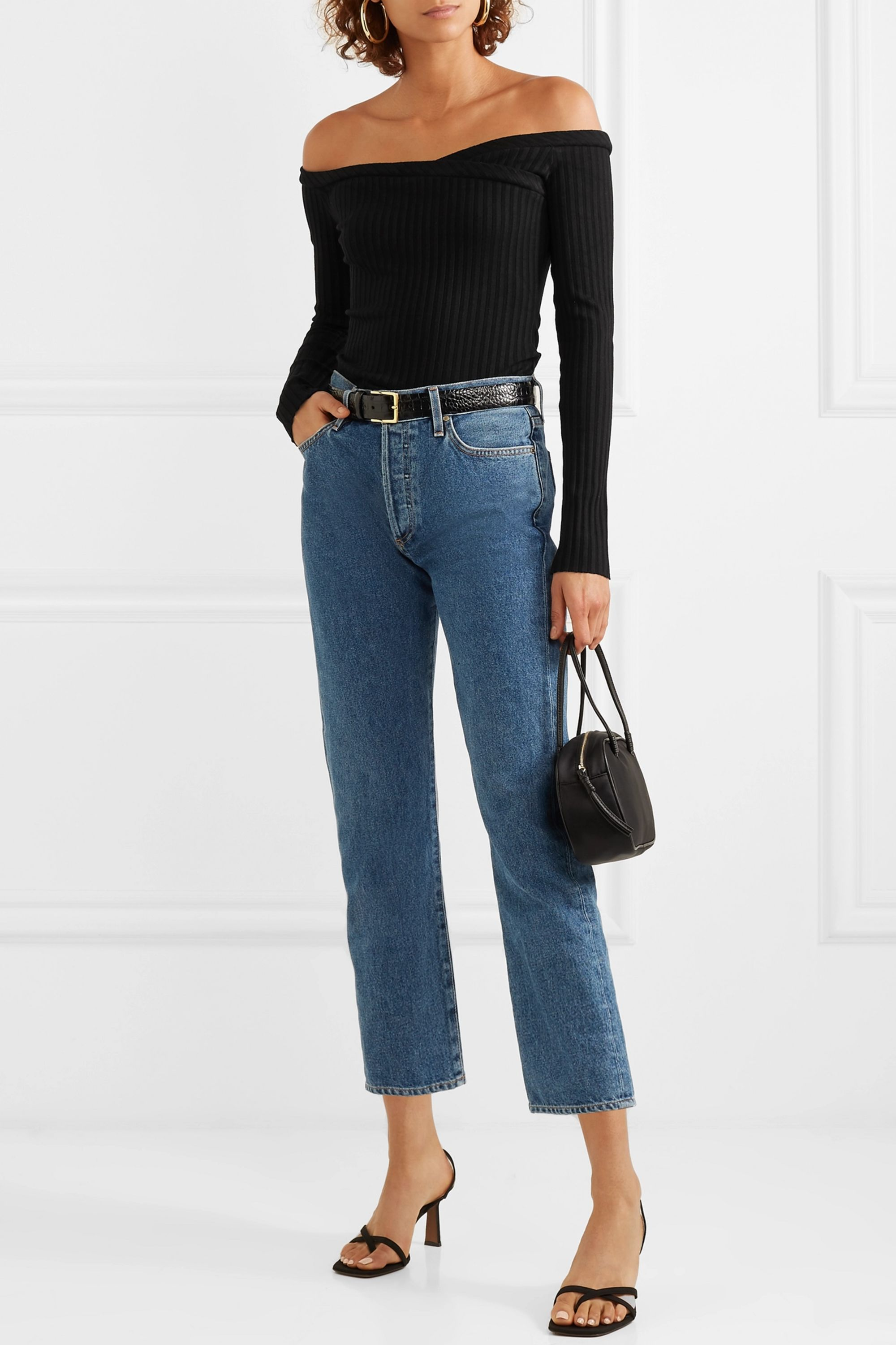 The Range Off-the-shoulder ribbed stretch-jersey top