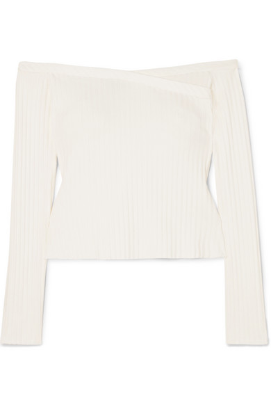 THE RANGE Off-The-Shoulder Ribbed Stretch-Jersey Top in Cream