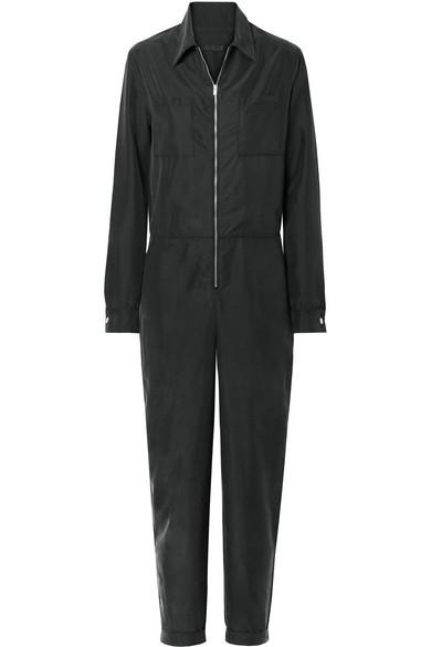 THE RANGE Liquid Washed-Satin Jumpsuit in Black