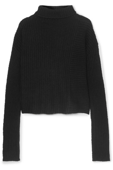 THE RANGE Batik Ribbed-Knit Turtleneck Sweater in Black