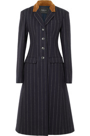 Suede-paneled striped wool-felt coat