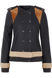 Shearling and suede-paneled wool-blend felt jacket