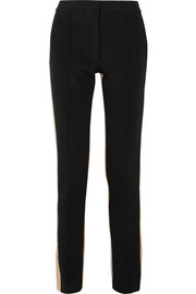 Striped cotton-blend jersey slim-leg pants