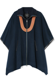 Leather-paneled wool-blend felt cape