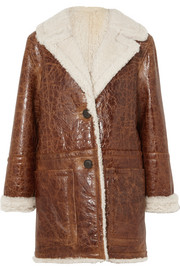 Cracked glossed-shearling coat