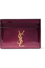 Saint Laurent Glittered patent-leather cardholder
