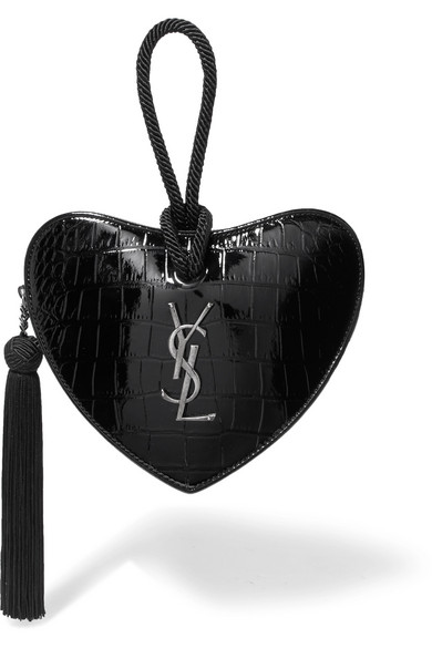 Croc-Effect Leather Clutch, Black