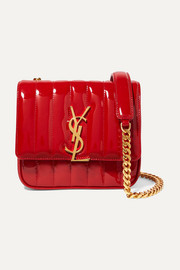 Saint Laurent Vicky small quilted patent-leather shoulder bag