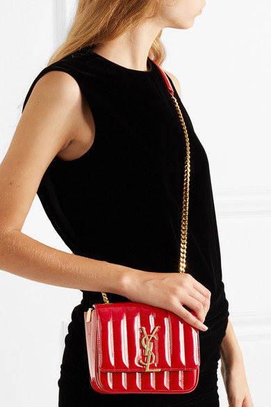 eaaae5b0bf0a0a SAINT LAURENT | Vicky small quilted patent-leather shoulder bag ...