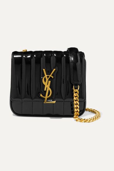 Vicky Monogram Ysl Small Quilted Patent Leather Crossbody Bag in Black