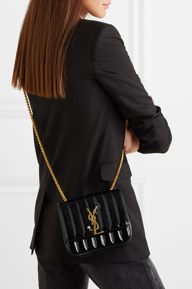 5e11c1cfe3 SAINT LAURENT | Vicky small quilted patent-leather shoulder bag ...