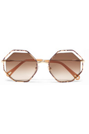 Poppy Petite octagon-frame snake-effect acetate and gold-tone sunglasses