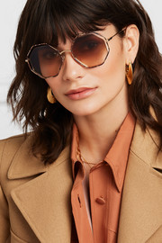 Poppy octagon-frame snake-effect acetate and gold-tone sunglasses