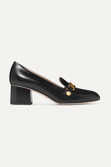 b8f4a02ee58 Gucci. Sylvie chain-embellished leather pumps