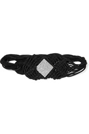 Saint Laurent Crystal-embellished braided suede and cord belt