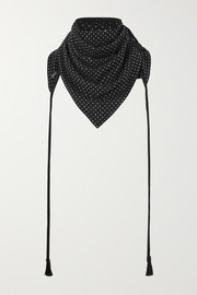 Tasseled studded suede scarf