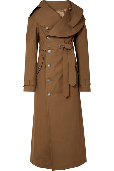 A.W.A.K.E. Belted Cotton-Gabardine Trench Coat in Brown