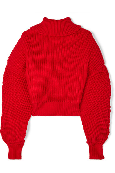 A.W.A.K.E. Cropped Button-Back Ribbed-Knit Wool Sweater in Red