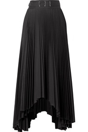 A.W.A.K.E. Asymmetric pleated poplin midi skirt