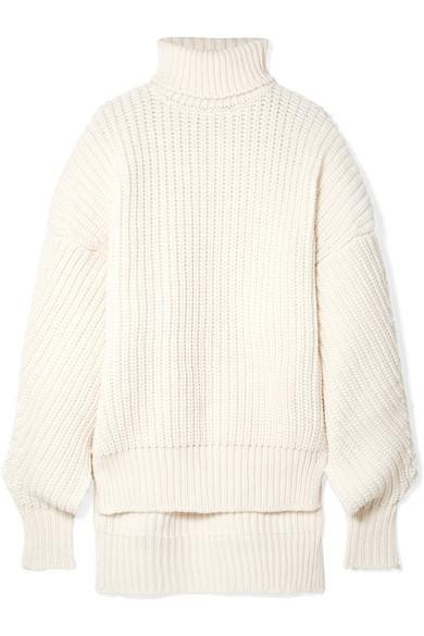 A.W.A.K.E. Oversized Cutout Wool Turtleneck Sweater in Cream