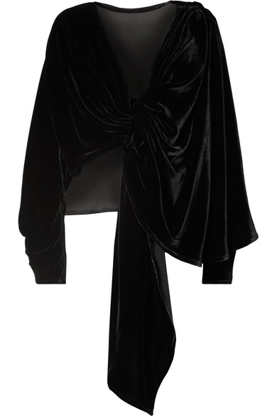 A.W.A.K.E. Reversible Knotted Velvet Top in Black