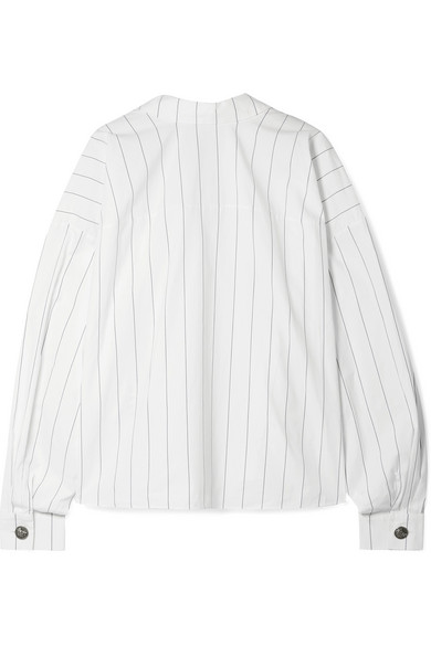 A.W.A.K.E. Reversible Oversized Pinstriped Cotton-Poplin Shirt, White