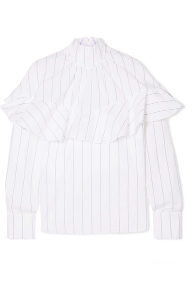A.W.A.K.E. Ruffled Pinstriped Cotton-Poplin Blouse in White